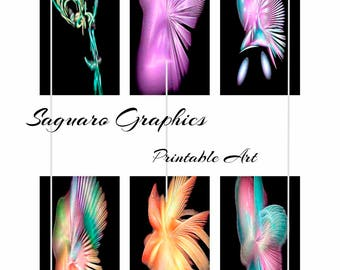 Rainbow Apopthysis Fractal Art - - Instant Download Digital Art, Dominos 1x2 inch, Collage Sheets