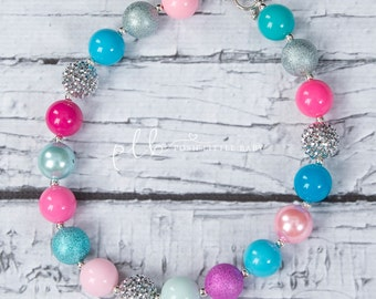 Pink and Blue Chunky  Bubblegum Necklace/Chunky Necklace, Chunky Baby Necklace/Bubblegum Necklace/Chunky Beads/Chunky Bead Necklace/Girls
