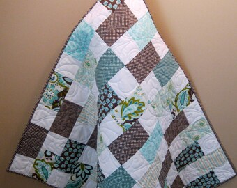 "FREE US Shipping-- Riley Blake Verona Gray and Teal Baby, Toddler or Lap Girl Quilt--42"" x 46"""