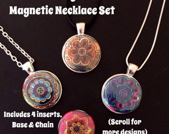 Interchangeable Magnetic Necklace Set OR Bracelet with 4 magnetic pendant inserts