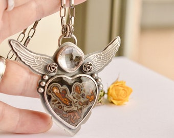 Silver Heart Necklace, Heart and Wing, Turkish Agate Necklace, Gemstone Pendant, White Topaz, Handcrafted Metalwork, Statement Necklace