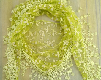 Triangle Scarf Green Lace Scarf Floral Scarf with Fringe Long Scarf Fashion Scarf