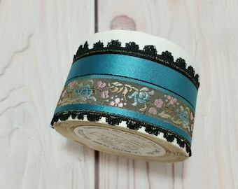 Vintage French Embroidered Trim Woven Ribbon Black Teal Floral La Petite Fleur Collection By The Yard