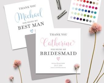 Personalisierte Hochzeit Tag Dankeskarte Brautjungfer | Am besten Mann | Platzanweiser | Blumenmädchen | Classic-Skript-Sortiment