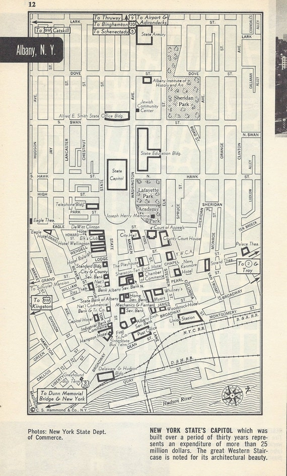 Akron Ohio Map Vintage Map City Map Street Map 1950s 2
