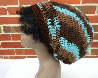 Extra Large Slouchy Rasta Tam Crochet Hat Brown Camo Earth and Sky