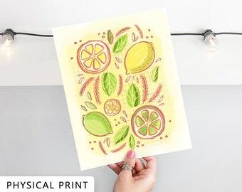 Citrus Art Print, Lemon Art, Lime Art, PHYSICAL PRINT, Kitchen Art Print, Kitchen Gifts, Kitchen Gift for the Home, Summer Art Decor.
