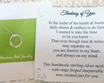 THINKING of YOU Gift Miss You Necklace POEM Card Sterling Silver Inseparable Rings Hardship Gift Friend Missing You Gift Jewelry Gift Ready