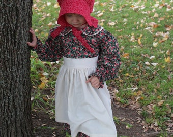 Girl's Mary Pioneer Dress w/ Half Apron and Bonnet Sizes 2-12