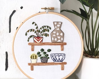 Houseplants/Cacti/Vase/Bowl on Shelves Embroidery Hoop Art . Modern Embroidery. Wall/Home/Boho Decor. Embroidery Art. Plant Embroidery. Art.