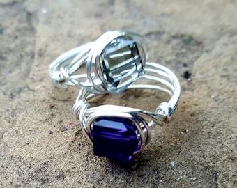 Purple and smoky Swarovski crystal rings, custom made rings, artisan jewelry, square Swarovski crystals, crystal ring