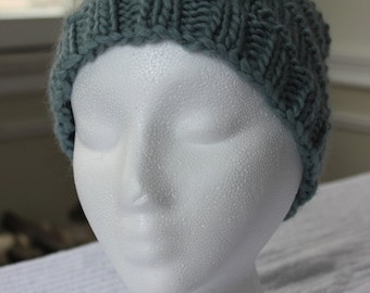 Hand-Knit Hat - Purled Swirl in Light Blue