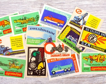 13x Vintage Farm Matchbox Labels Equipment Machinery Altered Art Collage Decoupage Junk Journal
