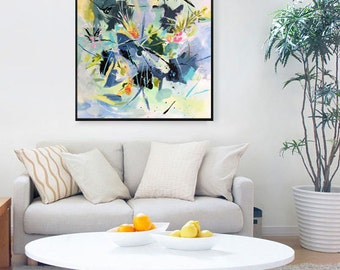 """Abstract painting, original painting, contemporary artwork, floral, wall decor, acrylic painting, floral painting, 20"""" x 20"""", large wall art"""
