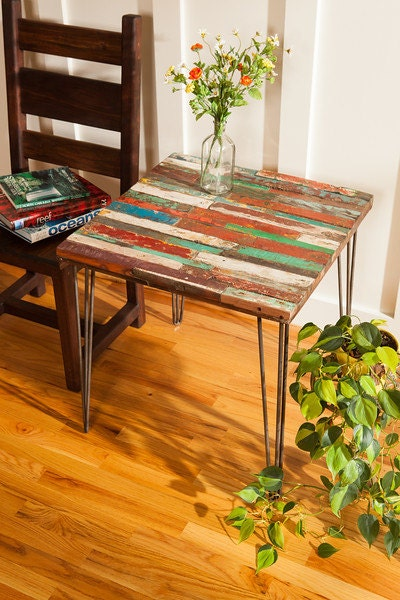 Reclaimed Bali Boat Wood End Table, Teak Coffee Table, Colorful Table, End Table for Living Room, Side Table in Custom Size, Hairpin Legs