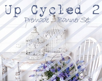 """Banner Set - Shop banner set - Premade Banner Set - Graphic Banners - Facebook Cover - Avatars - Bisiness Card - """"Up Cycled 2"""""""