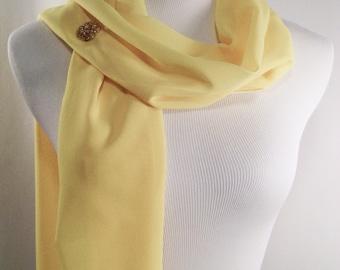 Bridal Scarf - Yellow Wedding Scarf - Sunshine Yellow Bridesmaid Scarf - Sunshine Yellow  Evening Wrap - Extra Long Yellow Silky Chiffon
