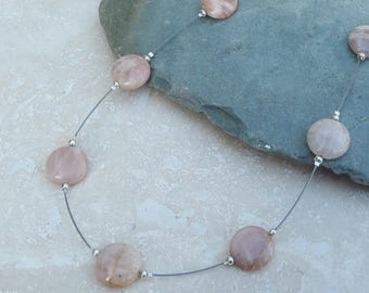 Peach Agate and Sterling Silver Floating Beaded Necklace - NEK026 - Illusion, Handmade, Jewellery, Jewelry, Gift, Present, For Her