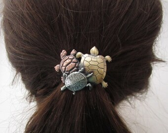 Turtle Ponytail Holder Sterling Silver Copper Brass Ox Finish