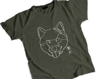 Shiba Inu 柴犬 Line Art V-Neck Shirt |  Shiba Inu Lover | Shiba Inu Doge | Shiba Shirt | Shiba Inu Gift | Line Art | Shiba Gift | Shibe