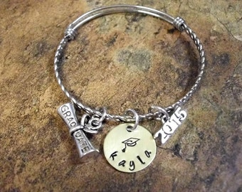 Graduation Bracelet, Personalized Jewelry, Hand Stamped Charm Bangle Bracelet, Fancy Stainless Steel Bangle