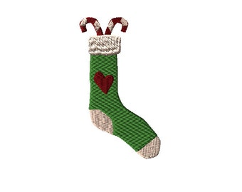 Country Primitive Candy Cane Christmas Stocking Machine Embroidery Design