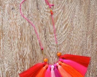Tassel Necklace - 9 Tassel Statement Necklace with Minimalist Beading - Red, Pink, Orange