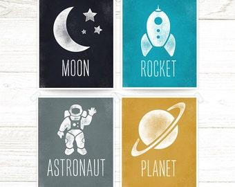 Space Art Kids,  Boys Room Decor, Astronaut, Rocket, Planet, Moon, Space Theme, Wall Art, Space Prints Kids set of 4