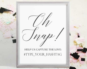 Wedding Instagram Sign, Oh Snap, Instant Download PDF, Wedding Sign, Wedding Photo Sign, Hashtag Sign, Printable Wedding Sign, 8x10, 5x7