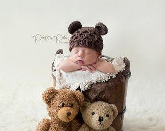 Baby Bear Hat, Baby Hat, baby newborn bear, crochet newborn baby hat, bear animal hat, infant bear hat, brown bear hat