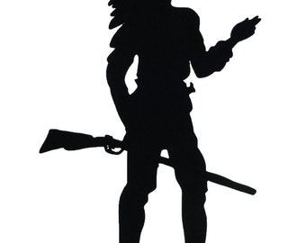 Standing Indian Holding Rifle Handmade Display Wood Silhouette Decoration  swst010