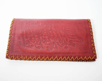 Hand Made Vintage Leather Wallet Red