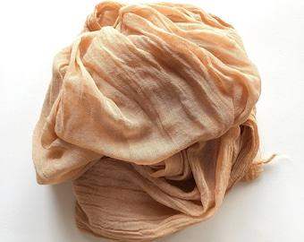 Natural dye cotton gauze scarf in loquat