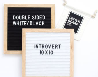 """Double-Sided 10 x 10"""" White/Black Introvert Letter Board - White/Black Felt and 300+ Characters"""