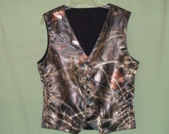 Boys and Men Camo vest. RealtreeAp Max 4 satin shown in photo #7 in fabric selection Also 22 camo colors to select from