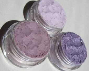3 Piece Gift Set Purple Mineral Eyeshadows   Shimmers   Vegan Mineral Makeup Eye Shadow Gift Set of 3-Playful Shimmer/Sparkle