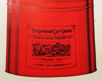 """Unused Early 1900's Catalog Page for """"The Superior"""" Cup Grease Can From Galena Axle Grease Co. Galena, Illinois"""