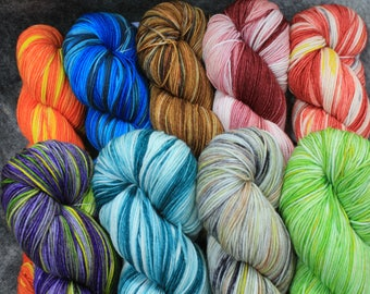 Hand Dyed, Sock Yarn,  Lot  701 thru 709, Superwash Merino/Nylon, 450 Yd, 4.3 oz