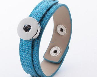 glittery faux leather turquoise bracelet bright effect snake for snaps and 2 clasp snaps, adjustable