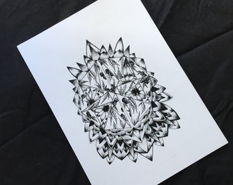 Sunflower Botanical Mandala Print