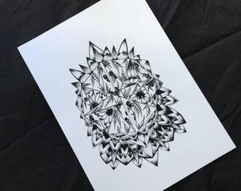 Sunflower Botanical Mandala Print
