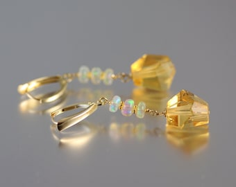 Citrine and Opal Earrings - 10k Gold - Citrine Earrings - Abstract Stones