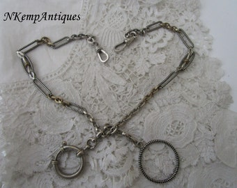 Antique enamel watch chain and fob 1910