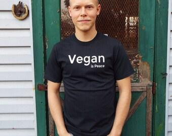 Vegan is Peace - Black Men's T-shirt