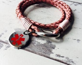 Medical Id Bracelet, Medical Alert Bracelet, Medical Alert Charm - Choice of Colour Bracelet