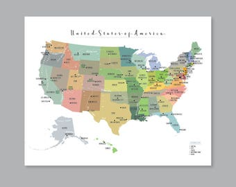 US State Map PRINTABLE USA Map Kid nursery Modern home decor