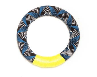 Lemon Yellow Thread | Blue, White and Black Stripes | African Jewellery | Thread-Wrapped Fabric Bracelet | Shweshwe | Statement