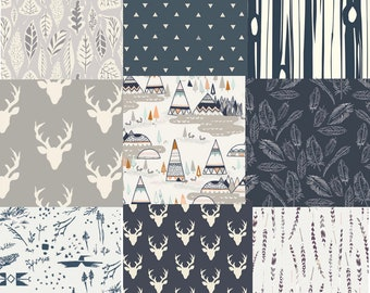 Cotton Fabric, Fat Quarter Bundle, Navy Blue, Quilting Bundle, Elk, Stags, Deer Head, Antlers, Tee Pees, Woodland, Gray, Grey, Feathers
