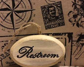 """Restroom sign for doorknob (3x5"""")"""