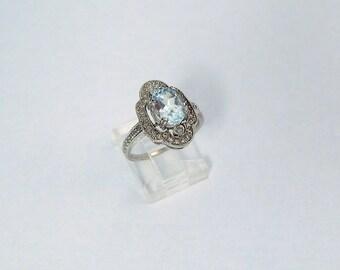 14K White Gold Aquamarine Ring with Diamonds, Gorgeous Sparkly Vintage Estate 14K Aquamarine Diamond Ring, Size 7.75